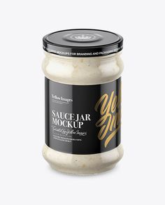 Clear Glass Jar with Horseradish Mockup (High-Angle Shot)