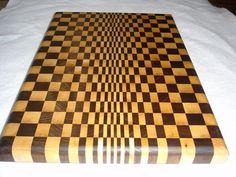 Checkerboard Butcher Block Optical Illusion