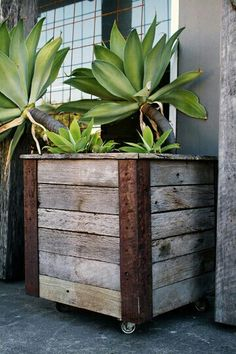 rustic planter on wheels easy to move around when you get bored