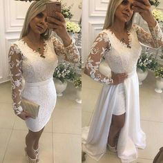 Chic White Beading Prom Dresses with Detachable Skirt Long Sleeve Evening Gowns, Evening Dresses, Bridesmaid Dresses, Prom Dresses, Formal Dresses, Formal Prom, White Dress, Bridal, Lace
