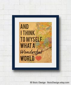 What a Wonderful World Typographical Art Print by StoicDesign on Etsy