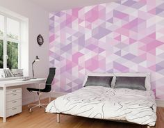 Ready Made Pink Pastel Triangles Wall Mural available in two set sizes Photo Wallpaper, Wall Wallpaper, Balloon Cartoon, Geometric Wallpaper Murals, Triangle Wall, Alphabet Wall, Adhesive Wallpaper, Repeating Patterns, Triangles