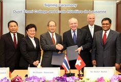 A new bachelor programme will be launched in Thailand after an agreement was signed between Dusit International and Ecole Hôtelière de Lausanne (EHL).The new bachelor course in Hotel and Resort Management, which will have in intake of both Thai and international students in 2012, will be run at Dusit Thani College in English.