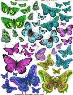 Forums / Images & Graphics / Butterflies - Swirlydoos Monthly Scrapbook Kit Club. Muchísimas imágenes de mariposas para descargar e imprimir.