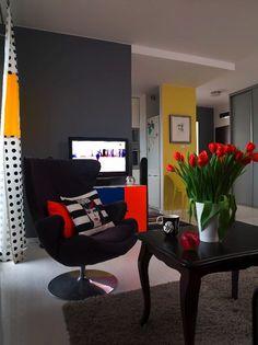 in colour . Dark Grey Walls, Loft Studio, Tiny Living, Living Rooms, Beautiful Interiors, Interiores Design, Colorful Decor, New Homes, Chair