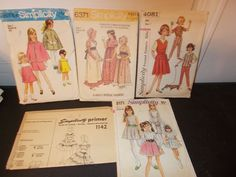 Inventory 21 Lot of 5 Vintage Patterns Childs size 7 Girls
