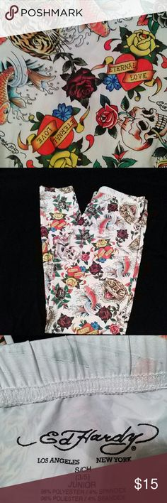 Ed Hardy Size small but can also fit a medium. Stretchy. Inseam 30. Excellent condition. EUC. Ed Hardy Pants Leggings