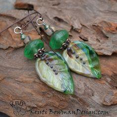 Lampwork Leaf Headpins Green Vaseline Bead by KristiBowmanDesign