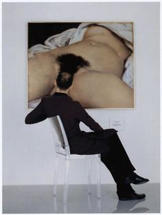 A portrait by Jean-Baptiste Mondino called 'Man Looking at the Origin of the World'.