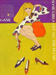 Connie shoe ad From Mademoiselle, October 1966