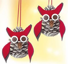 Fall Crafts With Children – Owl Handicraft For Cozy Hours Handmade Ornaments, Diy Christmas Ornaments, Christmas Art, Winter Christmas, Christmas Decorations, Nature Crafts, Fall Crafts, Holiday Crafts, Diy And Crafts