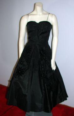 Vintage 50s Black Cocktail Party Dance Dress Circle skirt flowers rhinestone XS #Nobrand
