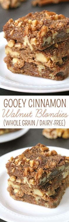 These gooey walnut blondies are simple to make and full of cinnamon! {100% whole grain with a dairy-free option}