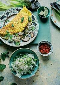 Banh xeo with shiitake and bean sprouts recipe from The Natural Cook by Tom Hunt Cooked Turnip Salad, Bean Sprout Recipes, Cooking With Coconut Milk, Banh Xeo, Cooking For Three, Savory Crepes, Bean Sprouts, How To Make Salad, Fajitas