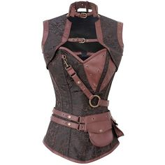 Corset Super Store Women's Steel Boned Steampunk Corset, Jacket, and... (3.80 AUD) ❤ liked on Polyvore featuring intimates, shapewear, tops, corsets, shirts, steampunk and jackets