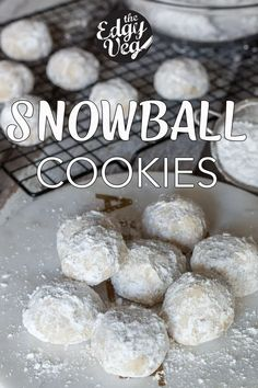 Vegan Snowball Cookies Recipe + Video The classic snowball cookie gets a vegan makeover in a really delicious way! These melt in your mouth vegan cookies are buttery, and dusted with sugar. This is the easiest vegan cookie recipe you've ever made! Vegan Christmas Desserts, Vegan Christmas Cookies, Christmas Baking, Simple Christmas Cookie Recipe, Christmas Christmas, Vegan Christmas Party, Healthy Christmas Treats, Natural Christmas, Christmas Sweets