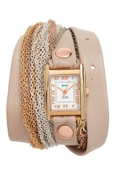 La Mer Collections Leather & Chain Wrap Bracelet Watch, 28mm available at…