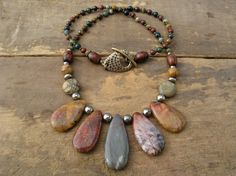 Jasper Necklace tribal statement necklace by ArtifactsEtCetera, $75.00