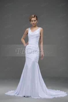 Modern V-Neck Draped Chapel Train Dropped(low)Waistline  Trumpet/Mermaid Wedding Dress