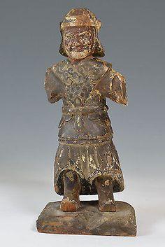 Un bon Antique Chinois Dynastie Ming bois sculpté Guerrier Figure 中国古董