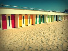 Colored doors on beach