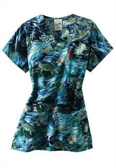 S.C.R.U.B.S. Ocean Odyssey v-neck print scrub top.