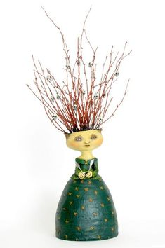 """SOLD - Amy   """"She Found that Some of Her Friends Were an Acquired Taste""""  original ceramic sculpture by Jacquline Hurlbert"""