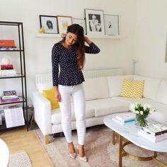 Mimi Ikonn | Peplum top, white skinny jeans, nude heels | OOTD