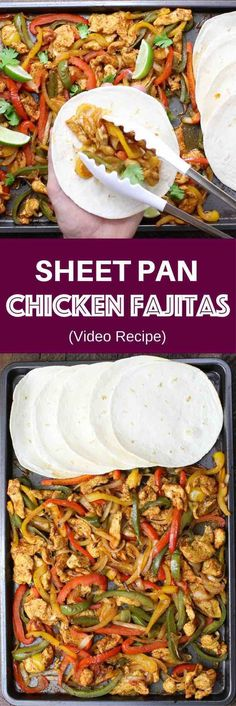 Chicken Fajita – one of the easiest healthy dinner recipes. Yellow, red and green peppers, sliced onions and chicken breasts, mixed with some simple spices (ground cumin, chili powder, garlic powder, salt and olive oil). Perfectly baked in the oven, and served on flour tortillas. Simply Yummy! Make-ahead recipe. Quick and easy dinner recipe. | tipbuzz.com