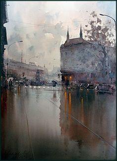 Dusan Djukaric Prizrenska street, watercolor, 54x74 cm