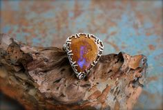 Boulder Opal set in Etched Sterling by RoseMetalsJewelry on Etsy, $195.00