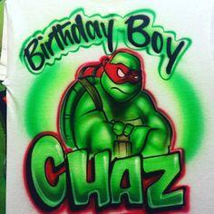 Ninja Turtle Birthday, Ninja Turtles, Boy Birthday, Life Is Strange Wallpaper, Graffiti Names, Airbrush T Shirts, Custom Airbrushing, Cotton Lights, Stitch