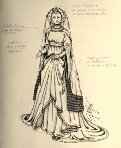 Traje de la alta Edad Media - Ilustraciones de moda - Dibujos de moda- Bocetos de moda / Fashion Illustration - Fashion Drawing - Fashion sketch