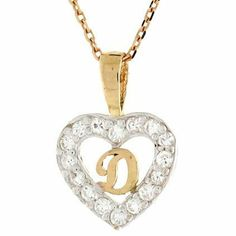 14K Gold Letter 'D' CZ Initial Heart Charm Pendant Jewelry Liquidation. $92.53. Made with Real 14k Gold. Made in USA!
