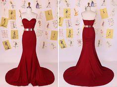 Dark Red Sweetheart Mermaid Long Prom Dress/Little Mermaid Evening Dress/Red Mermaid Prom Dress/Sexy Mermaid Prom Dress