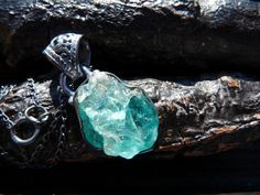 ON SALE raw neon apatite necklace apatite gemstone by BeijoFlor