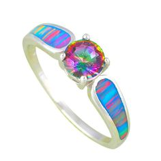 Stunning Sterling Silver Solitaire Rainbow Topaz w/ Multi Color Opal Ring Sz 5-10