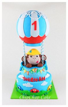 Hot air balloon Cake (from fb: Hannover ChipChap Cake) Hot Air Balloon Cake, Baby Sprinkle, Sprinkles, Balloons, Cakes, Facebook, Mini, Hannover, Globes