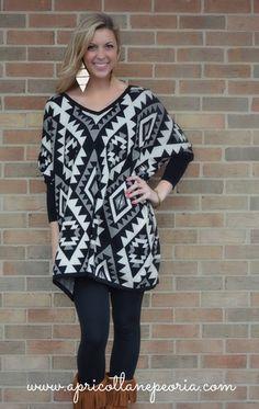 41927e73a6a4 Oversized Tribal Tunic Sweater