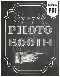 DIY. PRINTABLE Chalkboard PDF. Photo Booth Sign. Photo Booth Prop. Photobooth Prop. Photo Booth.Chalkboard Sign, Wedding Reception. Chalk. $7.00, via Etsy.