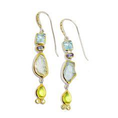 Ohrhänger - Einzelstück 4/12 Pendant Necklace, Drop Earrings, Jewelry, Sapphire, Gold Paint, Light Blue, Beads, Jewlery, Jewerly