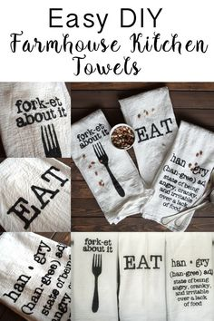 DIY Farmhouse Kitchen Towels - Dream Design DIY Easy way to make your own kitchen towels. Add some humor to your kitchen and some Farmhouse flair. Diy Décoration, Easy Diy, Sell Diy, Homemade Gifts, Diy Gifts, Craft Gifts, Vinyl Projects, Craft Projects, Circuit Projects