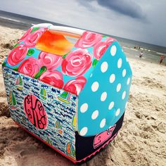 hand painted Lilly and Vineyard Vines inspired cooler :)