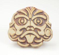 Porcelain Mayan Tribal Mask Button or Fridge Magnet by EspritMystique, $12.50