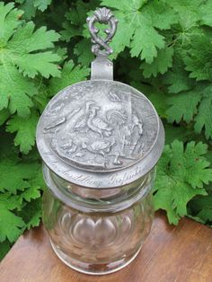 1881 Victorian glass Beer Stein pewter lid by GoGreenBuyVintage353