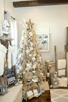 How to decorate your christmas tree and mantel the easy way. Plus free christmas tag printables. rustic, woodland, burlap white Christmas Tree by LillianHOpeDesign. white christmas,breakfast and brunch White Christmas Trees, Noel Christmas, Beautiful Christmas, Vintage Christmas, Christmas Ideas, Christmas Photos, Modern Christmas, Burlap Christmas Tree, Magical Christmas
