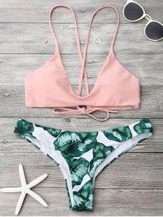 Palm Leaf Cami Bralette Bikini Set - PINK AND GREEN M