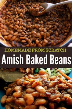 These homemade, from-scratch Amish Baked Beans are pure comfort food. I start with dried beans and slow cook them for hours until they are perfectly tender and bathed in a rich and hearty sauce that is just a little smoky and a little sweet. Best Baked Beans, Slow Cooker Baked Beans, Homemade Baked Beans, Baked Bean Recipes, Hamburger Baked Beans, Crock Pot Baked Beans, Navy Bean Recipes, Healthy Baked Beans, Beans Recipes