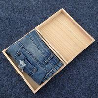 Arte De Madera de la vendimia Caja De Ropa Interior Caja De Embalaje Ropa Bufanda Rectangular Caja de Regalo 18.5*14.2*4.8 cm Puede personalización