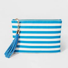 cc346b33cf8c A New Day Women s bright blue and white striped Tassel Pouch Target bag  cute happy purse for summer! Would make a good travel case